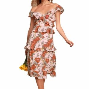 Lulus Blush Pink Floral Print Ruffled Midi Dress S